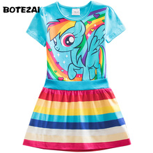 Retail Girls Dress Summer 2017 New Kids Dress Cartoon Girls Princess Children Dress Baby Girls Vestido 3 colors(China)
