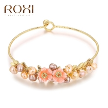 ROXI Brand Bracelet Elegant Rose Gold/Color Bangles Hand Made Flowers Fashion Pearls Jewelry for Women