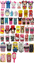 3D Cartoon Soft Silicone Mobile Phone Back Case Cover Skin Shell Minnie Mickey Sulley Stitch For Apple iPhone 4 4S 4G