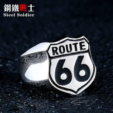 Steel soldier US Size 7-13 retail Cheap Man's Jewelry Stainless Steel Biker ring Route 66 Ring For Club BR8-126