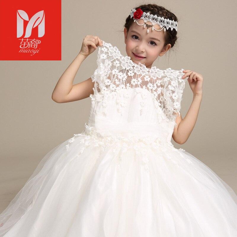 2017 Elegant Long Wedding Dress for Flower Girls Solid White Princess Children Ball Gown Dresses Kids Formal Clothing<br>