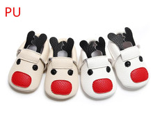 New PU leather reindeer style baby moccasin shoes Fancy unique Newborn toddler baby shoes First Walker boot soft soled(China)