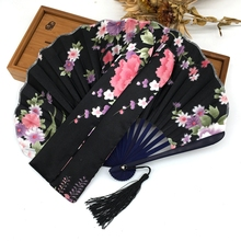 High Quality 1PC Free Shipping Potable Chinese Plain Hand Held Fabric Folding Fan Summer Pocket Fan Wedding Party
