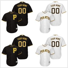MLB Men's Pittsburgh Pirates Black Cool Base Custom Jersey(China)