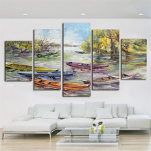 Monet Style 5 Piece Canvas Painting Wall Art Picture Oil Painting Printed on Cloth Home Decor For Living Room Fashion Picture