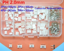40 sets Kit in box 2p 3p 4p 5 pin 2.0mm Pitch Terminal / Housing / Pin Header Connector Wire Connectors Adaptor PH Kits