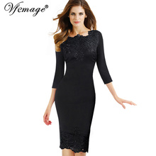 Vfemage Womens Elegant Embroidery Wear To Work Business Party Evening Special Occasion Mother of Bride Bodycon Sheath Dress 3946