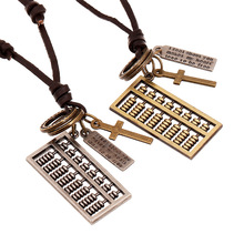 1 PC Casual Vintage Punk Necklace Men & Women Leather Rope Alloy Abacus Pendant Necklace