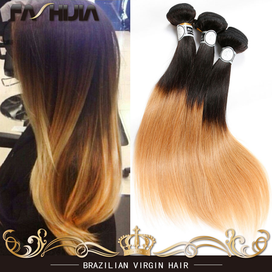 Virgin Brazilian Straight Hair Ombre Honey Blonde Weave Two Tone Ombre 1b 27 Hair Extensions soft Brazilian Human Hair Straight<br><br>Aliexpress