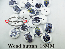 wholesale (200pcs/lot) owl bird series wooden buttons for baby hat 18MM MCB-948(China)