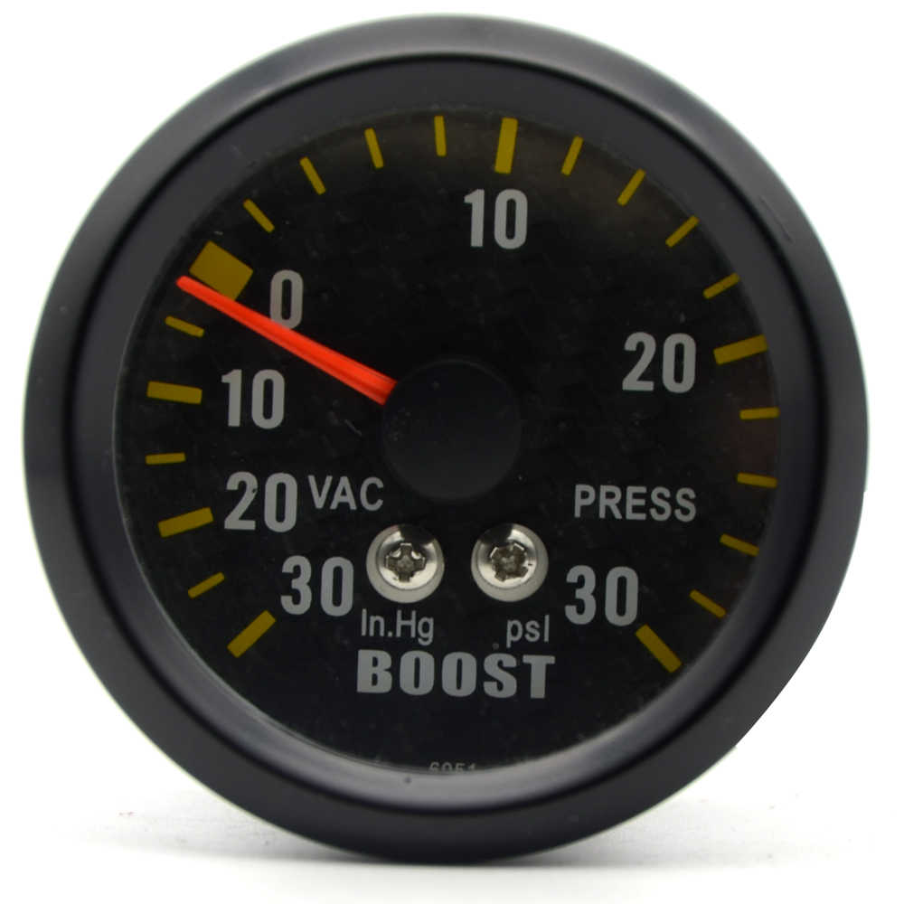 "2"" 52mm Auto Car Turbo Boost Gauge Analog Carbon Fibre Face -30~30 PSI Meter White Background Light"