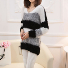 Women's Fashion Striped Pullover Crochet Sweater Casual Plus Size Tops Knitted D343