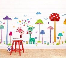 cartoon deer mushroom wall stickers decals kids cheap removal PVC wall paper children girls home bedroom school DIY decoration