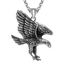 Dropshipping Skull Titanium Steel Antique Silver Eagle Wings Pendant Necklace Fashion Punk Style Jewelry