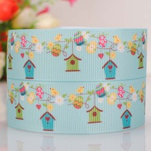 "5 yards 7/8 "" 22 mm Hot bird nest Easter printed cartoon grosgrain ribbon DIY decoration free shipping(China)"