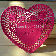 Free shipping, hot pink heart paper doilies,6inch=15.2cm, paper lace doilies/placemat,cake package(China)