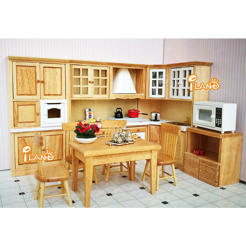 1:12 Dollhouse Miniature Kitchen Cabinets Set Wood Furniture Basin Stove Counter