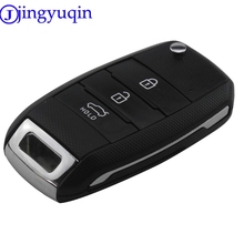 jingyuqin 3 Buttons Remote Flid Folding Key Case Shell Cover Case For KIA Carens Cerato Forte K2 K3 K5 Car Fob Cover Housing