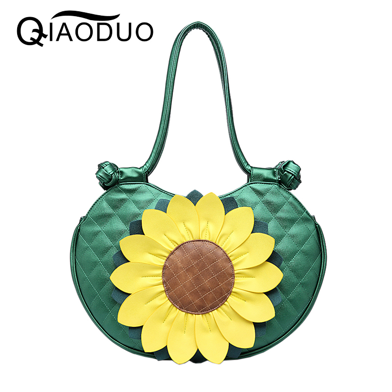 QIAODUO Luxury Handbags Women Bags Designer Leather Sun Flower Bags Handbags Women Famous Brands National Wind Leisure big bag <br>