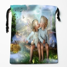 Best Butterfly Fairy Drawstring Bags Custom Storage Printed Receive Bag Compression Type Bags Size 18X22cm Storage Bags(China)