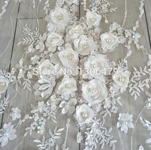 White Wedding Dress Lace Fabric, 3D Chiffon Flowers Nail Bead High End European Lace Fabric Free Shipping RS142(China)