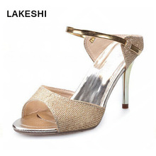 Women Sandals Heels Gold Sliver Ankle-Wrap High Heel Sandals Women Summer Shoes Ladies Sandals