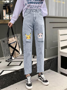 Hole Jeans Pikachu Loose Harajuku Retro Female High-Waist Cartoon Women Cute New Chic