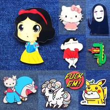 New Acrylic Brooches Pins Figure Simpson Bells Hello kitty cartoon jewelry cute face snow White cat dogs Broche shirt enamel pin