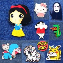 New Acrylic Brooches Pins Figure Simpson Bells Hello kitty cartoon jewelry cute face snow White cat dogs Broche shirt enamel pin(China)
