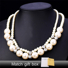 Synthetic Pearl Necklace Cute Jewelry For Women Wholesale Austrian Rhinestone 50CM Wedding Bridal Jewelry N1506(China)
