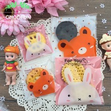 100pcs/lot Lovely Bear Rabbit Self-adhesive Seal OPP Wedding Candy and Cookie Packaging Bags for DIY Gift Plastic Bags B036(China)