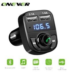 1 шт. Bluetooth автомобильный набор, свободные руки, FM передатчик MP3 плеер с светодиодный двойной USB 4.1A быстрая Зарядное устройство Напряжение Дис...
