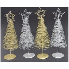 32cm Mini Iron Christmas Tree Xmas Table Decoration Festival Party Wedding Decor New Year Gift 2 Colors Available(China)