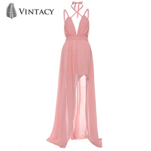 Buy Vintacy Sexy Women Maxi Boho Dress Halter V Neck Pink Sleeveless Summer Dress Holiday Long Beach Dress Vestidos Party Dresses