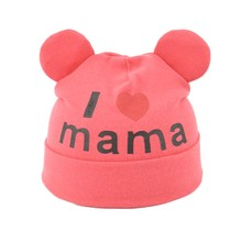 Baby Boys Girls I Love Mama Pattern Hat Winter Warm Baby Hats Children Caps