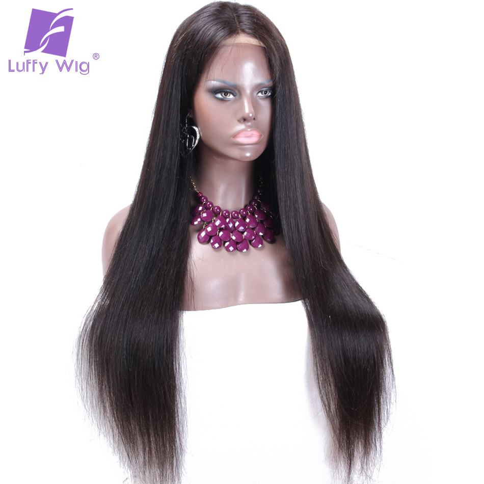 straight human hair lace front wig