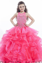 Pageant Flower Girl Dresses Pink Cute Scoop Vestidos De Primera Bead/Ruched Comunion Girls Frock Designs Wedding Party Dresses