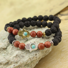 2017 Lava Stone Yoga Energy Beaded Bracelet Antique Gold Silver Hamsa Hand Fashion Jewelry Accessories for Women Men(China)