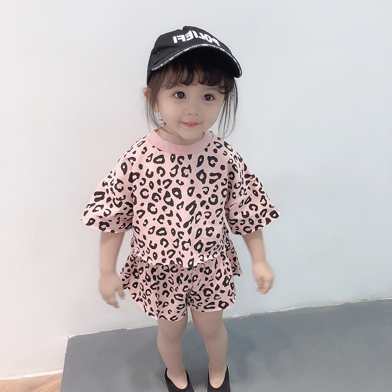kid girls leopard print outfit toddler little girl clothes summer children clothing set short sleeve o-neck tops+shorts fashion
