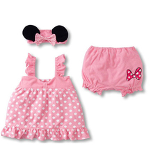 Baby Girls Summer Clothes Sets Minnie Mouse Clothing Set Sling Dot Dress+shorts+bow headband 3pcs Children Toddler bebek giyim