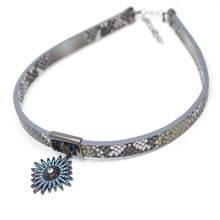 Imitation Snake Skin Gray with Leather Cord Paved CZ Beads Metal Spark Star Charm Choker Necklace Fashion Woman Jewelry