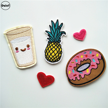 5 PCS/LOT Cake Milk Parches Embroidery Iron on Patches for Clothing DIY Stripes Clothes Pineapple Stickers Heart Appliques @U6