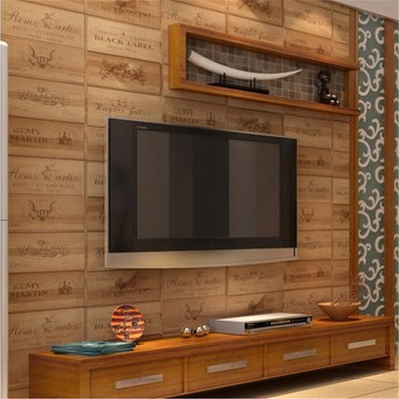 beibehang wood wall paper wine box plaid wall paper roll relief papel de parede 3d wallpaper For Living room papel parede<br>