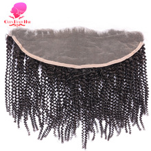 QUEEN BEAUTY HAIR Brazilian Remy Hair Lace Frontal Closure Afro Kinky Curly 13*4 Bleached Knots Baby Hair 100% Human Hair