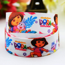 7/8'' (22mm) Dora Cartoon Character printed Grosgrain Ribbon party decoration ribbons OEM X-00815 10 Yards