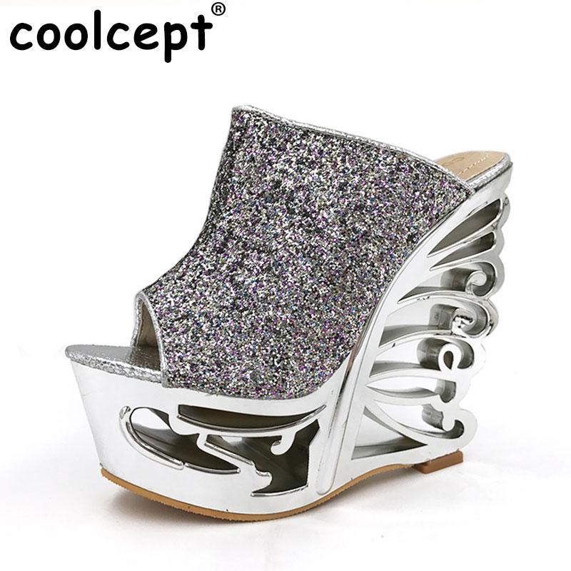 Coolcept free shipping quality wedge sandals platform women sexy fashion lady female shoes P14498 hot sale EUR size 34-39<br>