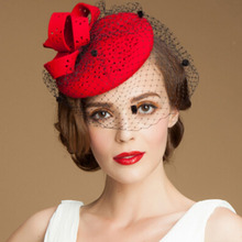 Fashion lady Hallow out plum flowers  / bow / large gauze small pure wool hat Red Vintage Wedding Fedora hats for women
