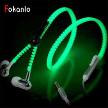 HOT High Quality Glow In The Dark Full Glowing Earphone Luminous Light Metal Zipper Ear Phones For Iphone Samsung MP3 With Mic(China)