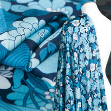 Digital Printed couture fashion Fabric,heavy chiffon,fresh blue white,soft,smooth,Sewing,Dress,pant,skirt,Craft by the yard