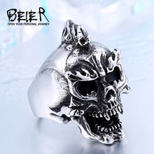 BEIER Cool Punk Ring Skull Halloween Ghost Rings Stainless Steel Man`s Jewelry BR8-428
